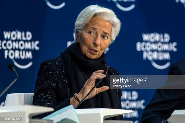 Christine Lagarde president of the European Central Bank addresses a panel during the World Economic Forum in Davos