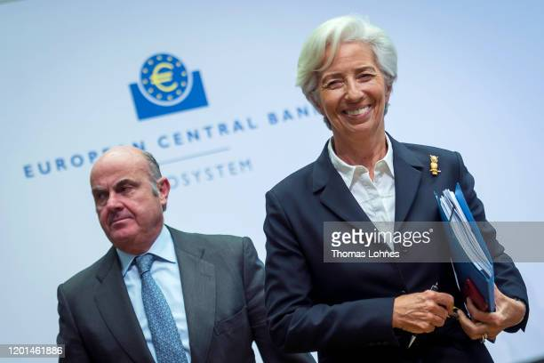 Christine Lagarde President of the European Central Bank and Vicepresident Luis de Guindos leaves the press conference following a meeting of the...