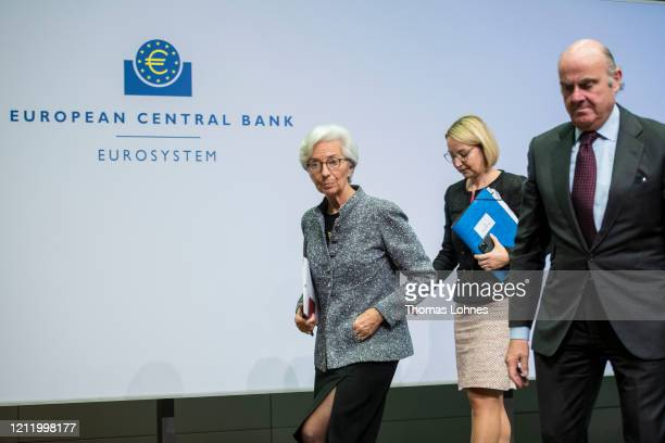 Christine Lagarde President of the European Central Bank and Vicepresident Luis de Guindos leave the press conferencefollowing a meeting of the ECB...