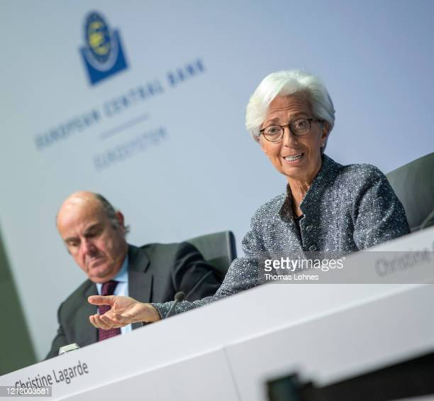 Christine Lagarde President of the European Central Bank and Vicepresident Luis de Guindos speak to the media following a meeting of the ECB...
