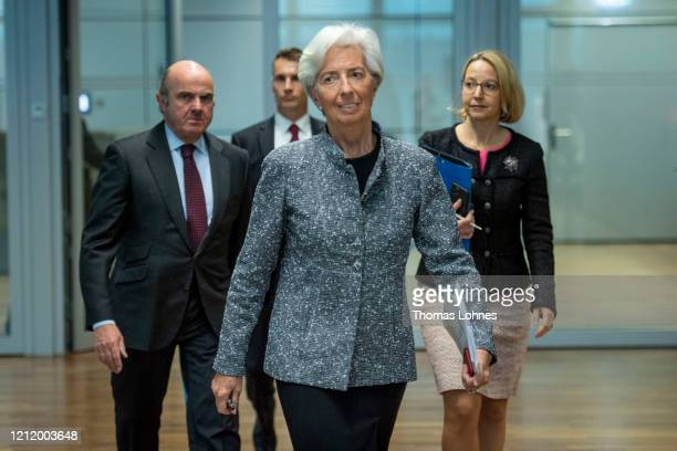 Christine Lagarde President of the European Central Bank and Vice president Luis de Guindos arrive for the press conferencefollowing a meeting of the...