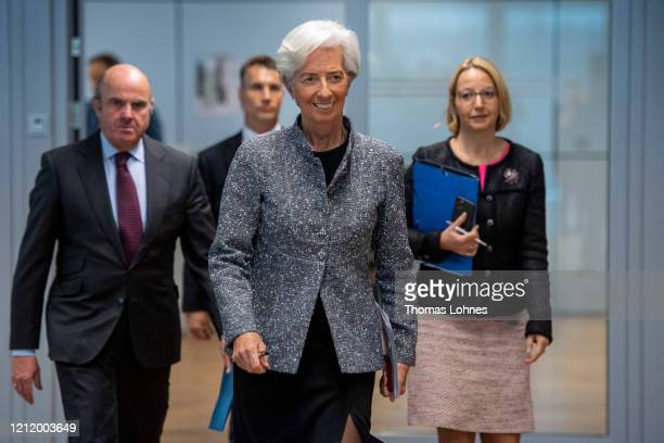 Christine Lagarde , President of the European Central Bank , and Vice president Luis de Guindos arrive for the press conferencefollowing a meeting of...