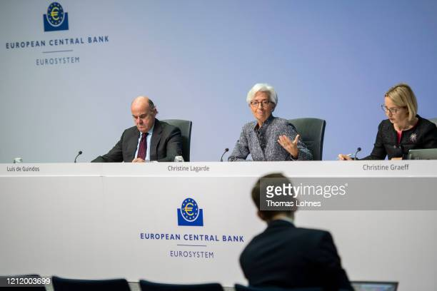 Christine Lagarde President of the European Central Bank and Vice president Luis de Guindos speak to the media following a meeting of the ECB...