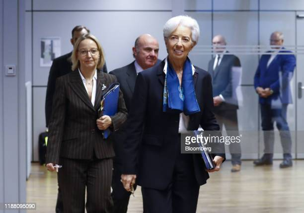 Christine Lagarde president of the European Central Bank center arrives with Christine Graeff director general for communications at the European...