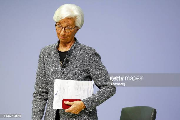 Christine Lagarde president of the European Central Bank departs the central bank's rate decision news conference in Frankfurt Germany on Thursday...