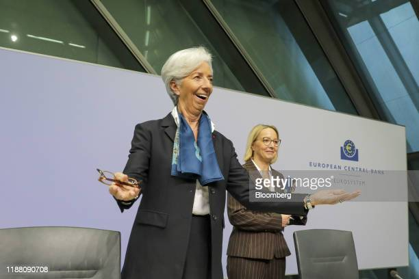 Christine Lagarde president of the European Central Bank gestures beside Christine Graeff director general for communications at the European Central...