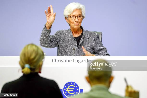 Christine Lagarde president of the European Central Bank gestures during the central bank's rate decision news conference in Frankfurt Germany on...