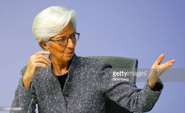 Christine Lagarde president of the European Central Bank gestures while speaking during the central bank's rate decision news conference in Frankfurt...