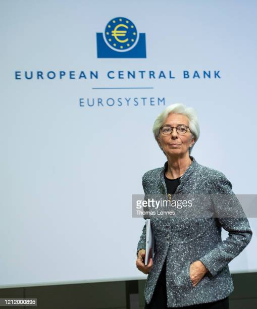 Christine Lagarde President of the European Central Bank leaves the press conferencefollowing a meeting of the ECB governing board at ECB...