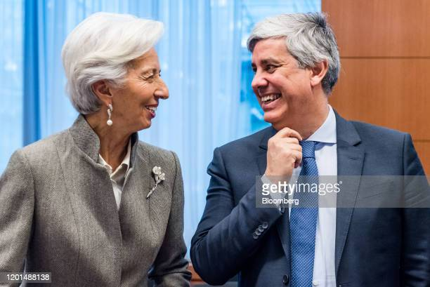 Christine Lagarde, president of the European Central Bank , left, and Mario Centeno, Portugal's finance minister and president of the Eurogroup,...