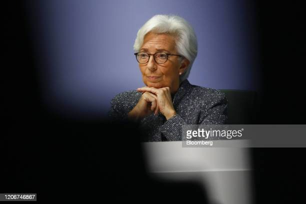 Christine Lagarde president of the European Central Bank pauses during the central bank's rate decision news conference in Frankfurt Germany on...