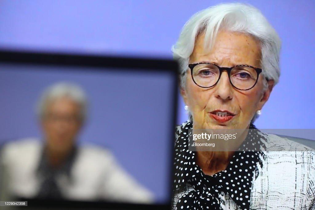 ECB President Lagarde Announces Virtual Rate Decision : News Photo