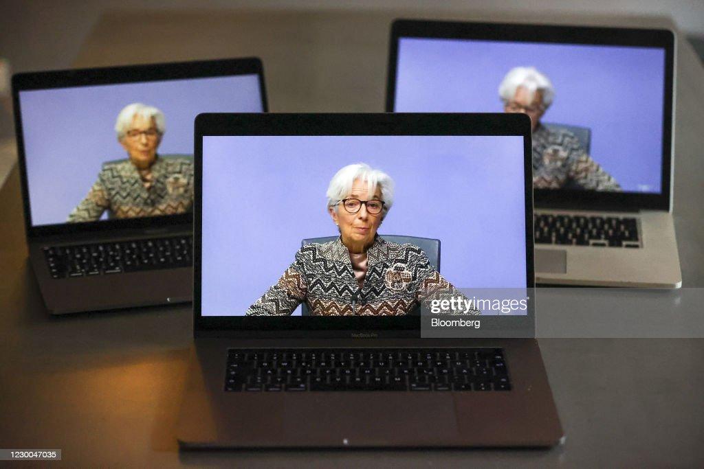 ECB President Christine Lagarde Announces Rate Decision : News Photo
