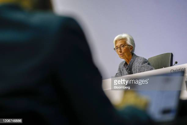 Christine Lagarde president of the European Central Bank speaks during the central bank's rate decision news conference in Frankfurt Germany on...