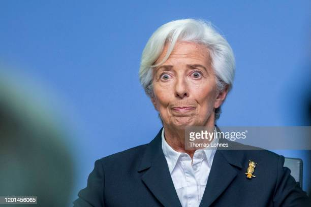 Christine Lagarde, President of the European Central Bank , speaks to the media following a meeting of the ECB's Governing Council on January 23,...
