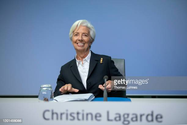 Christine Lagarde President of the European Central Bank speaks to the media following a meeting of the ECB's Governing Council on January 23 2020 in...