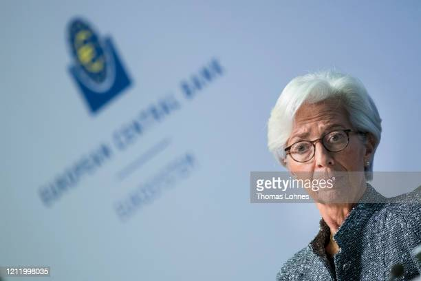 Christine Lagarde, President of the European Central Bank, speaks to the media following a meeting of the ECB governing board at ECB headquarters on...