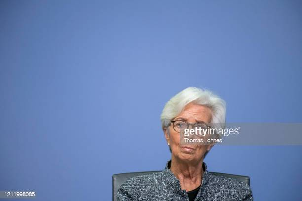 Christine Lagarde President of the European Central Bank speaks to the media following a meeting of the ECB governing board at ECB headquarters on...