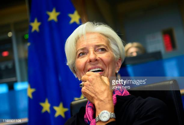 Christine Lagarde Presidentdesignate of the European Central Bank speaks prior to attending a European Parliament's Committee on Economic Affairs at...