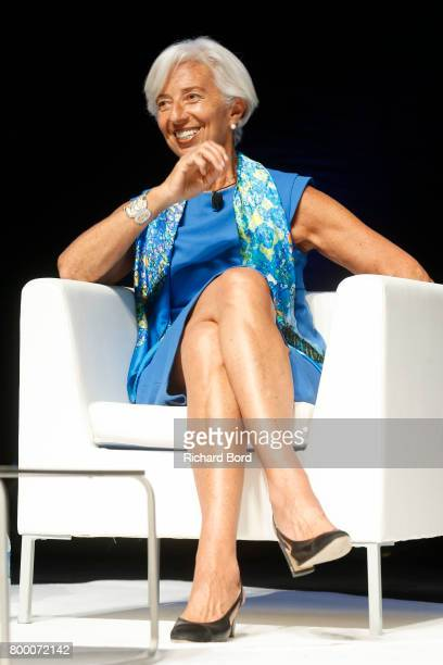 Christine Lagarde speaks during the 'Can Creativity Change the World' seminar during the Cannes Lions Festival 2017 on June 23 2017 in Cannes France