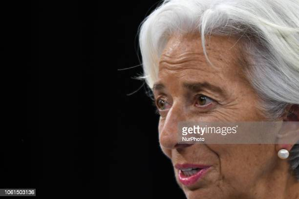 Christine Lagarde the Managing Director and Chairwoman of the International Monetary Fund at the Paris Peace Forum an event that is a part of the...