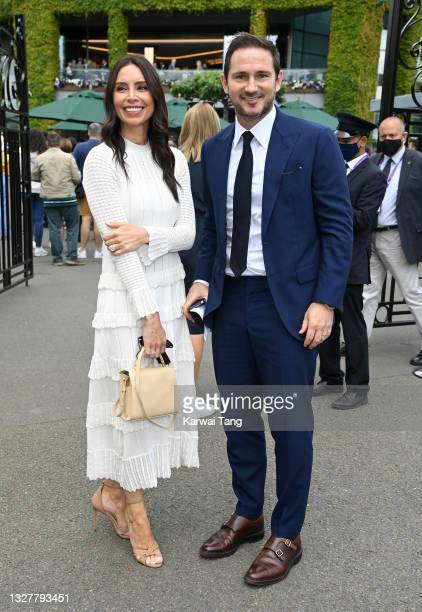 Christine Lampard and Frank Lampard attend day 11 of the Wimbledon Tennis Championships at the All England Lawn Tennis and Croquet Club on July 09,...