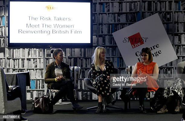 Christine Langan from BBC Films host Edith Bowman and director Chanya Button speak on stage during day one of Stylist Magazine's first ever 'Stylist...