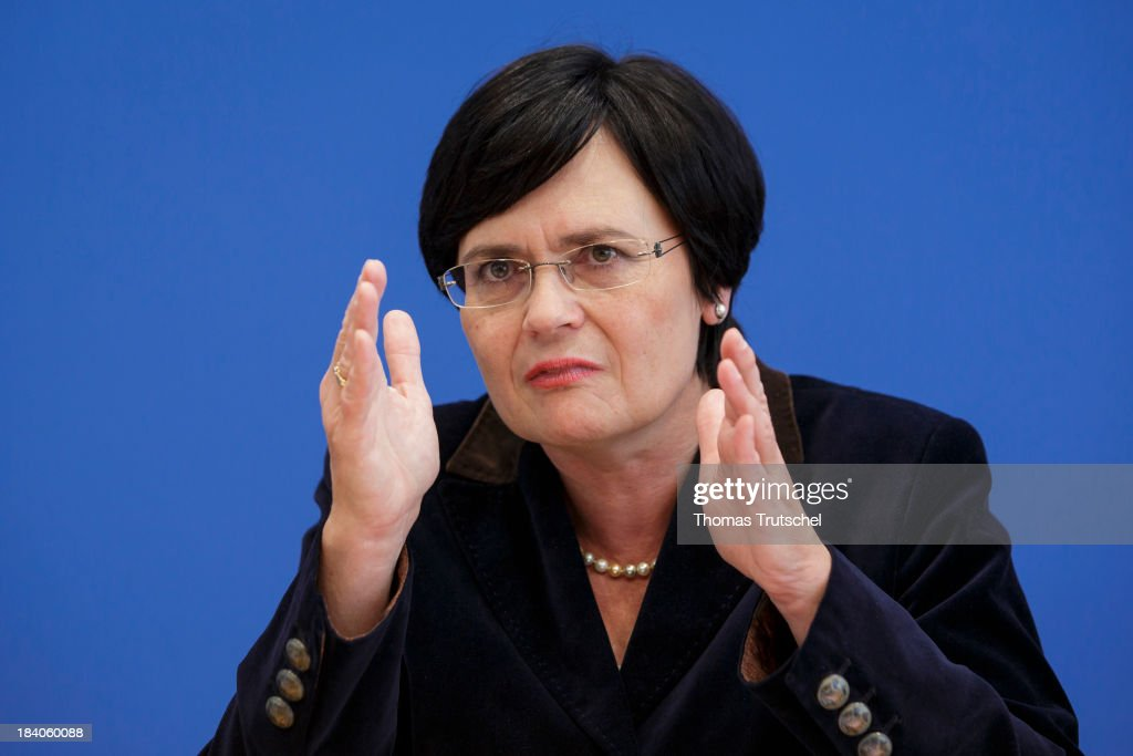 Christine Lieberknecht, Minister-President of the state of Thuringia, speaks during a press conference at Bundespressekonferenz on October 11, 2013 in Berlin, Germany.
