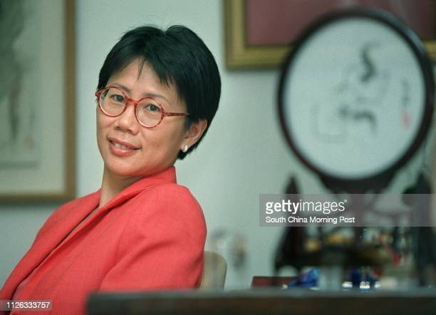 Christine Loh Kungwai chief executive of Civic Exchange poes in her office in Wyndham Street during an interview on June 21 2002