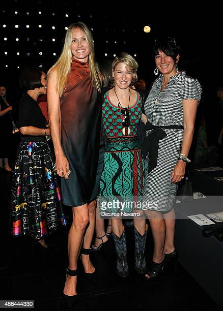 Christine Mack Julie Macklowe and Ghislaine Maxwell attend Dennis Basso Front Row Backstage Spring 2016 New York Fashion Week The Shows at The Arc...