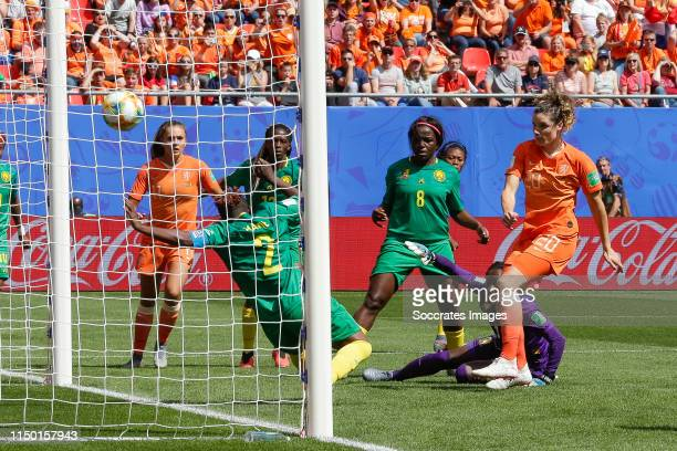 Christine Manie of Cameroon, Raissa Feudjio of Cameroon, Dominique Bloodworth of Holland Women during the World Cup Women match between Holland v...