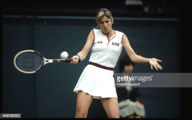 Christine Marie Evert Lloyd born 1954 playing in the ladies singles semifinal at Wimbledon in 1981 which she went on to win She won three Wimbledon...