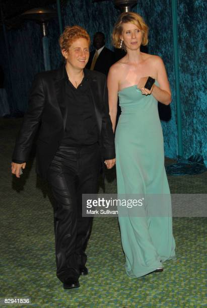 Christine Marinoni and actress Cynthia Nixon depart HBO's Emmy Awards after party on September 21 2008 in West Hollywood California
