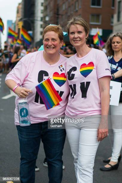 Christine Marinoni and Cynthia Nixon attend the 2018 New York City Pride March on June 24 2018 in New York City