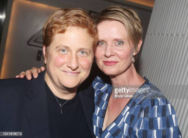 Christine Marinoni and wife Cynthia Nixon pose at the opening night after party for The New Group Theater production of The Trueat Yotel's Green Fig...