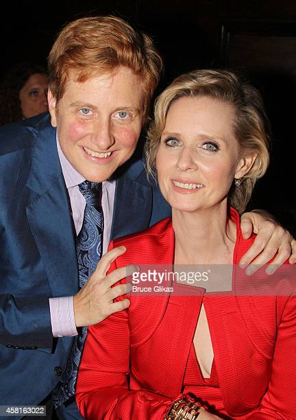 """Christine Marinoni and wife Cynthia Nixon pose at The Opening Night After Party for """"The Real Thing"""" on Broadway at The Liberty Theatre on October..."""