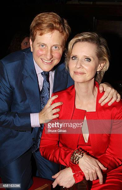 Christine Marinoni and wife Cynthia Nixon pose at The Opening Night After Party for The Real Thing on Broadway at The Liberty Theatre on October 30...