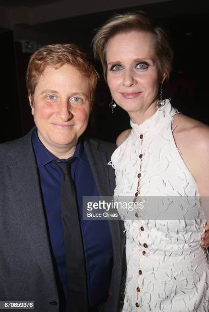 Christine Marinoni and wife Cynthia Nixon pose at the opening night after party for Manhattan Theatre Clubs production of The Little Foxes on...