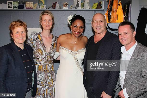 "Christine Marinoni, wife Cynthia Nixon, Audra McDonald as ""Billie Hollday"", Carmen Marc Valvo and partner Christian Knaust pose backstage at ""Lady..."