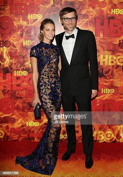 Christine Marzano and Stephen Merchant attend HBO's Official 2015 Emmy After Party at The Plaza at the Pacific Design Center on September 20 2015 in...