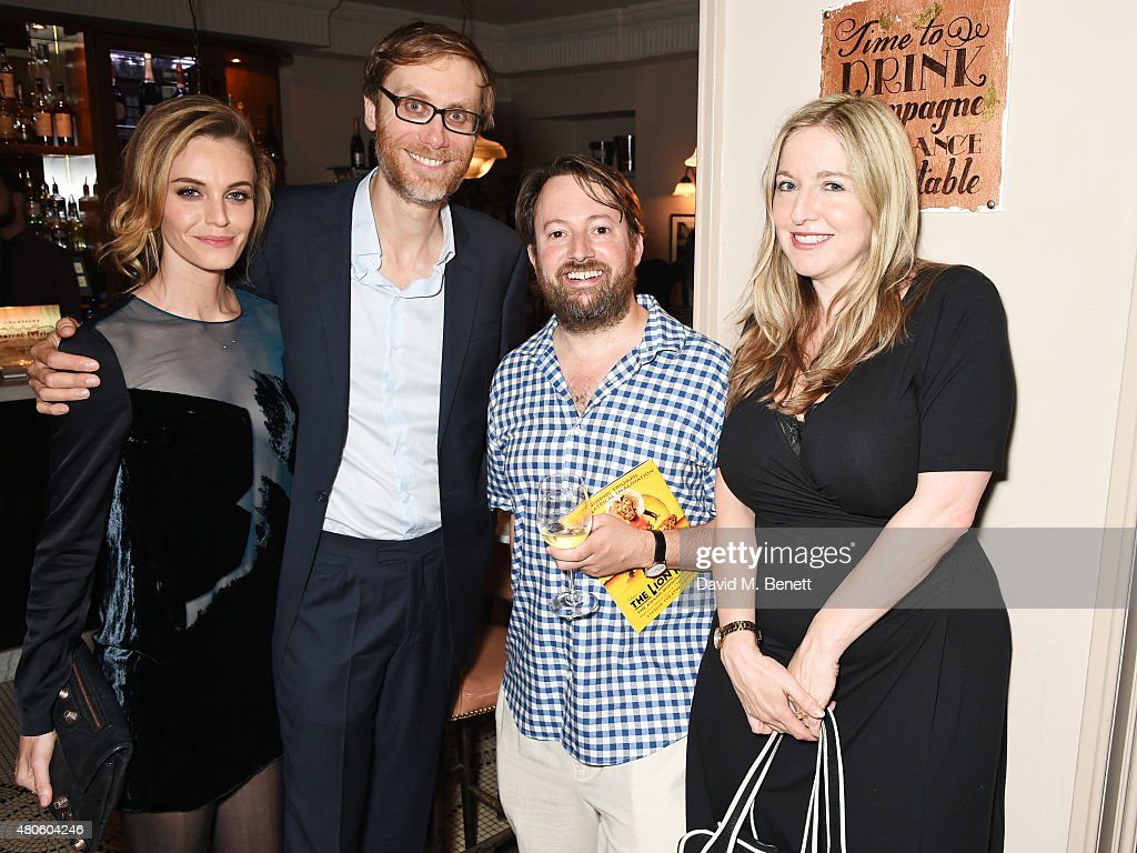 Christine Marzano, Stephen Merchant, David Mitchell and Victoria Coren Mitchell attend an after party following the press night performance of 'The Mentalists' at Kettner's on July 13, 2015 in London, England.