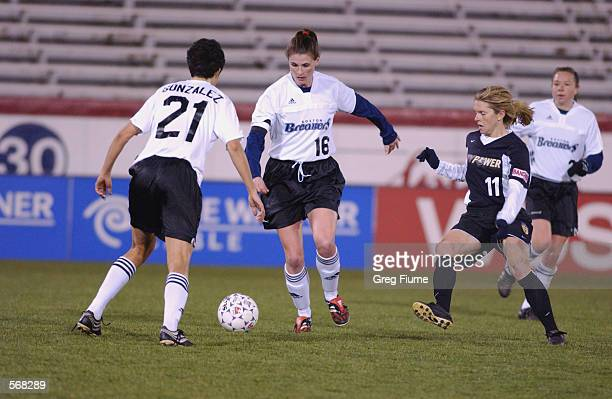 Christine McCann of the Boston Breakers dribbles the ball during the WUSA game against the New York Power in Richmond Virginia on March 23 2002 The...