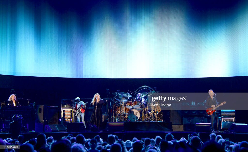 Christine McVie, John McVie, Stevie Nicks, Mick Fleetwood and Lindsey Buckingham of Fleetwood Mac perform onstage during The Classic West at Dodger Stadium on July 16, 2017 in Los Angeles, California.