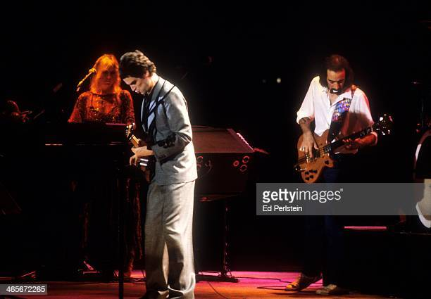 Christine McVie Lindsey Buckingham and John McVie perform with Fleetwood Mac at the Cow Palace in December 1979 in San Francisco California