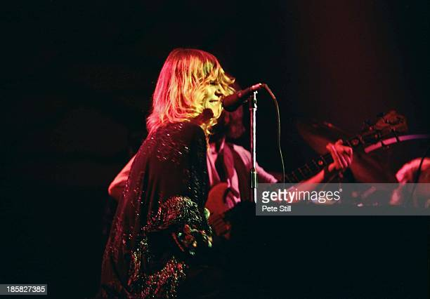 Christine McVie of Fleetwood Mac performs on stage at the Glasgow Apollo, on April 4th, 1977 in Glasgow, Scotland.