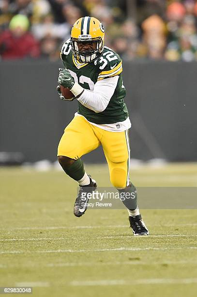 Christine Michael of the Green Bay Packers runs for yards during a game against the Seattle Seahawks at Lambeau Field on December 11 2016 in Green...