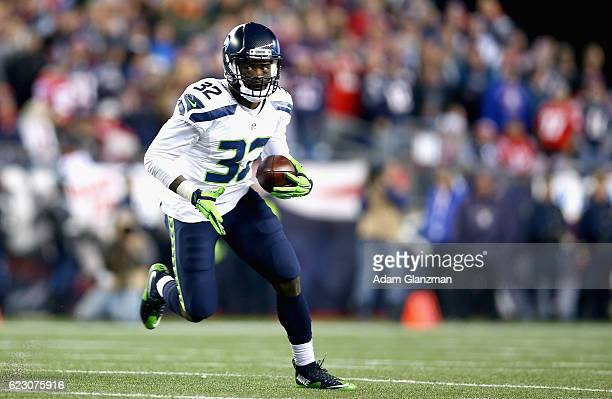 Christine Michael of the Seattle Seahawks carries the ball during the second quarter of a game against the New England Patriots at Gillette Stadium...