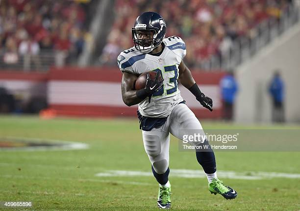 Christine Michael of the Seattle Seahawks gains in the second quarter against the San Francisco 49ers at Levi's Stadium on November 27 2014 in Santa...
