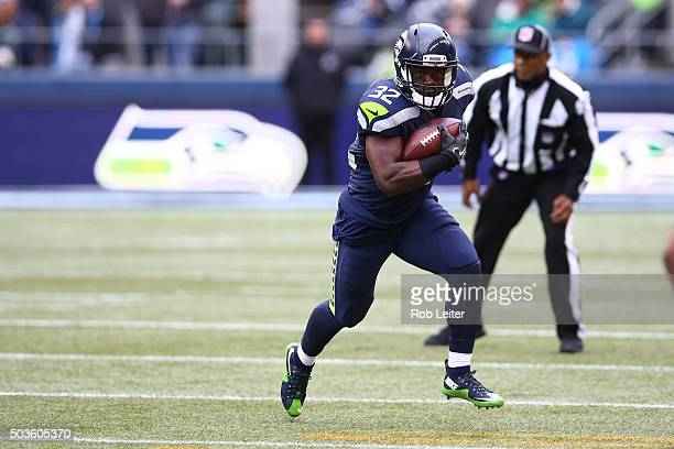 Christine Michael of the Seattle Seahawks runs during the game against the Cleveland Browns at CenturyLink Field on December 20 2015 in Seattle...