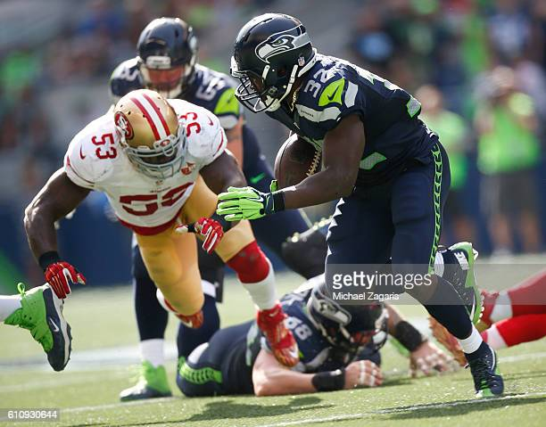 Christine Michael of the Seattle Seahawks rushes during the game against the San Francisco 49ers at CenturyLink Field on September 25 2016 in Seattle...